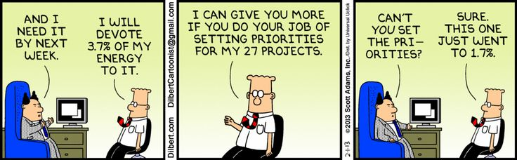"""When was the last time you were given project priorities? Lol...""""everything is #1 priority, juggle everything work late, while i leave early, and send me a detailed report, so i can tell the big bosses what a great job i did"""" Huh?oh sure...i will get right on that for ya...lol"""