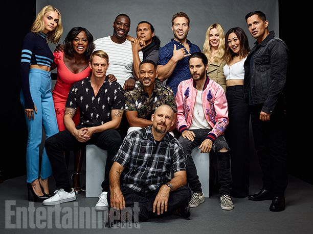 Cara Delevingne, Viola Davis, Adewale Akinnuoye-Agbaje, Adam Beach, Jai Courtney, Margot Robbie, Karen Fukuhara, Jay Hernandez, Jared Leto, David Ayer, Will Smith, and Joel Kinnaman, 'Suicide Squad'