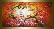 Большой огромный абстрактные современные холст стены искусства огромный красный розовый вишневый цвет цветок живопись маслом на холсте для гостиной украшения(China (Mainland))