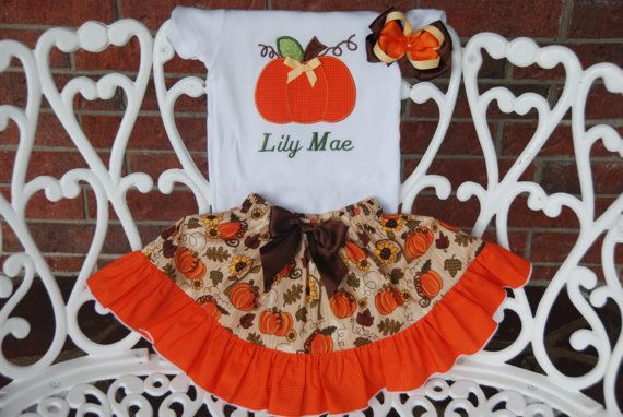 Girls Pumpkin Patch Outfit Pumpkin Outfit/Fall by RuffleDarlings