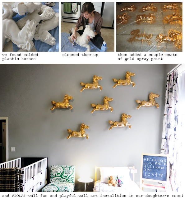 gold horse in kids room