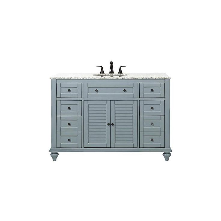 Home Decorators Collection Hamilton Shutter 49.5 in. Vanity in Sea Glass with Granite Vanity Top in Grey with White Basin