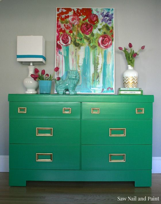 Jade Green Mid Century Dresser by Saw Nail and Paint. Entry for Spray It Pretty. The Fab Furniture Flippin' Contest. #fabflippincontest