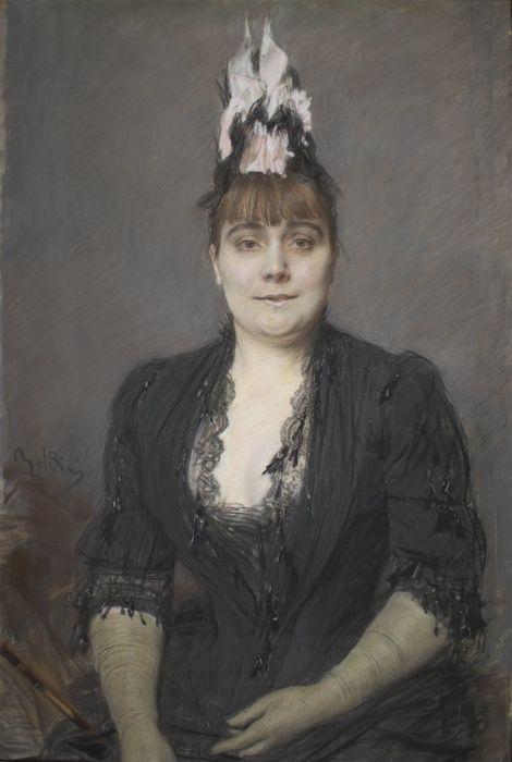 Giovanni Boldini,  Ritratto di signora,  1880.  Pastello su carta applicata su tela, 96,4x64,3 cm . Galleria d'Arte Moderna Ricci Oddi,  Piacenza