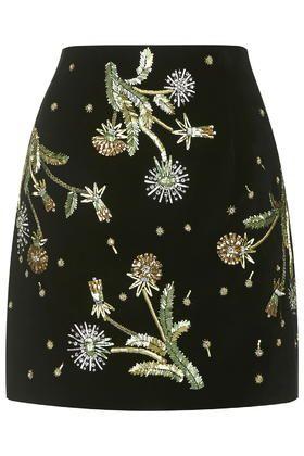 Brunswick Velvet Mini Skirt by Unique