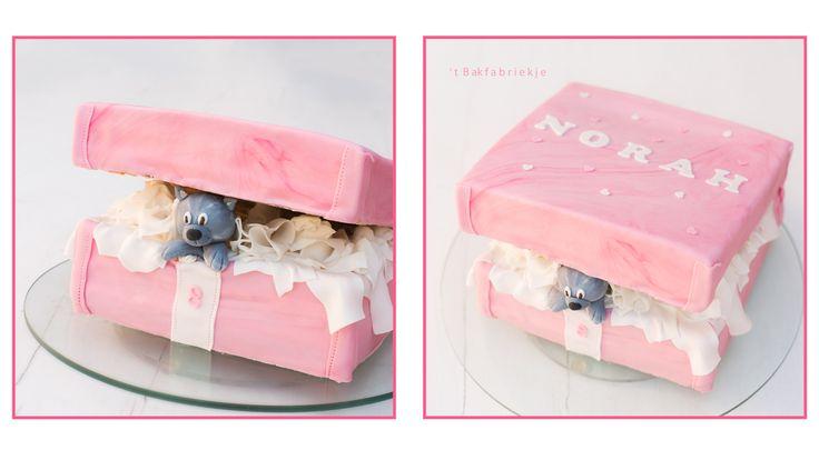 Poes in doos taart cat in box cake - 't Bakfabriekje