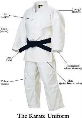 The Karate Gi. Due to laws that prohibited fighting, people trained karate secretly, mainly at night. The white robe (gi) is said to resemble the sleeping robe and prevent authority from spotting the activity.