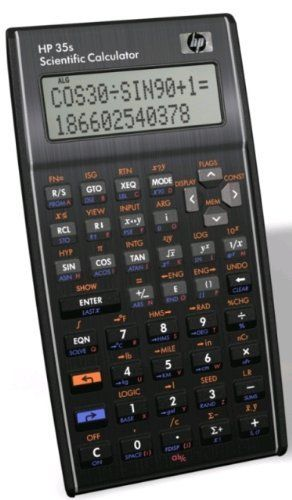 HP 35s Scientific Calculator by HP. $49.99. Amazon.com                Ideal for college students, engineers, surveyors, and medical personnel, the HP 35s scientific calculator offers calculation versatility in one economical unit. For added versatility, the HP 35s lets users choose between RPN or algebraic entry-system logic (no other scientific calculator offers both). It also features a large, two-line alphanumeric display to view entries, results, menus, and prompts with...