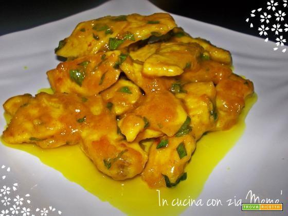 Straccetti di pollo allo zenzero con crema di curcuma  #ricette #food #recipes
