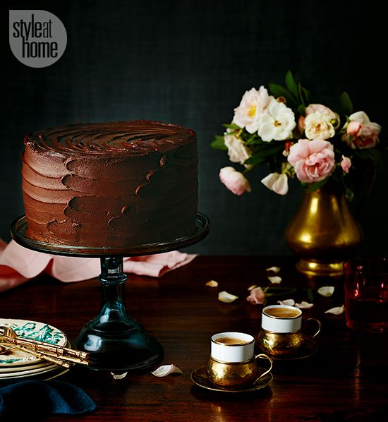 Classic chocolate layer cake with buttercream icing. Style at Home, 2015. Maya Visnyei