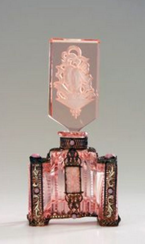 ♔ Bottles & Boxes ♔ perfume, snuff & decorative containers - Czech glass perfume bottle in pink crystal with jeweled metalwork, 1920s