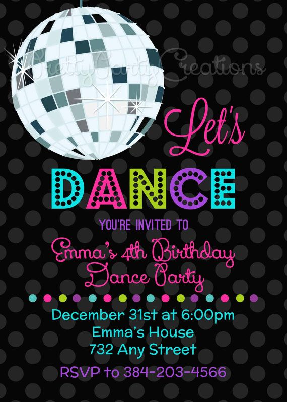 LET'S DANCE Disco Ball invitation YOU by PrettyPartyCreations