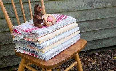Poppy & Hester baby blankets in three gorgeous colours. Handwoven on the Isle of Skye