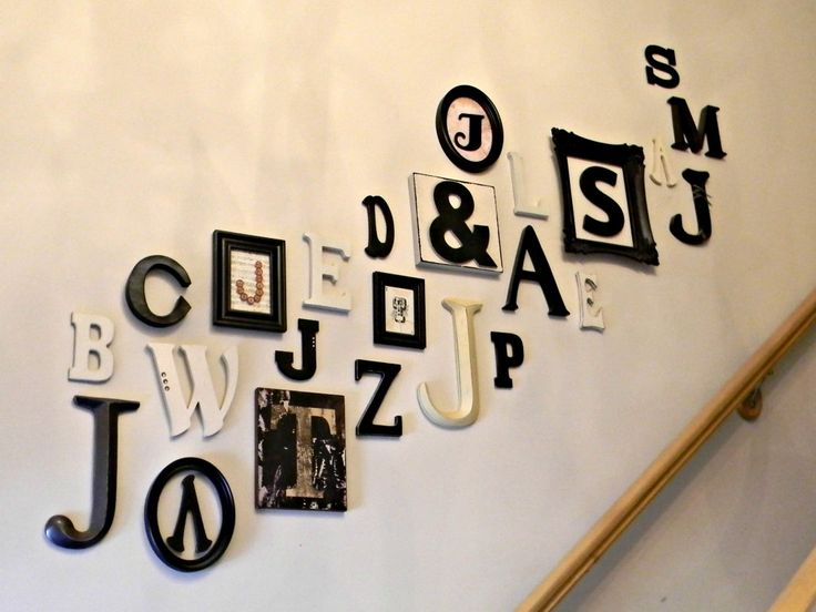 From Loving Where You Live: The wall going up the stairs in our home is lined with the initials of the members of our family. Every time a new member of the family is added their initial is added also. I love that the letters represent each member of my family.