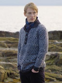 Knit this mens fairisle sweater from Rowan Knitting & Crochet Magazine 52