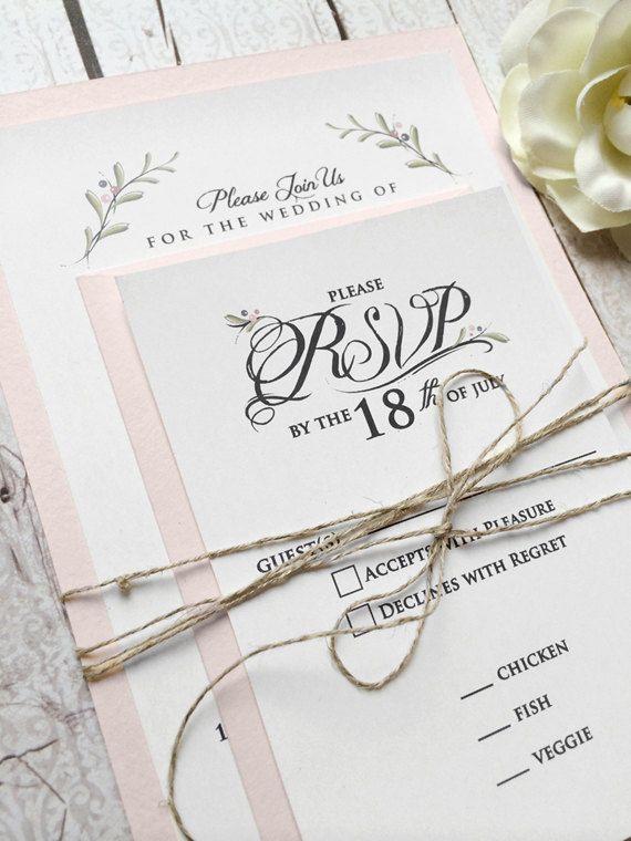 Wedding Invitations  Blush  Pink Wedding by SideStreetDesigns