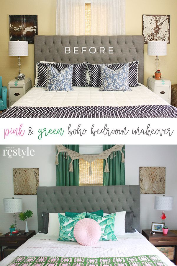 Pink Green Boho Bedroom Makeover Home Projects Makeovers Bedroom Makeover Bedroom Makeover Diy Home Decor