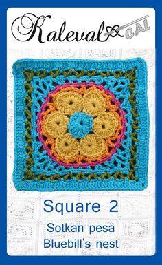 Kalevala CAL crochet-along, square 2. Join in the blanket cal by Finnish crochet designers #crochet #crochettutorial #crochetalong #crochetafghan