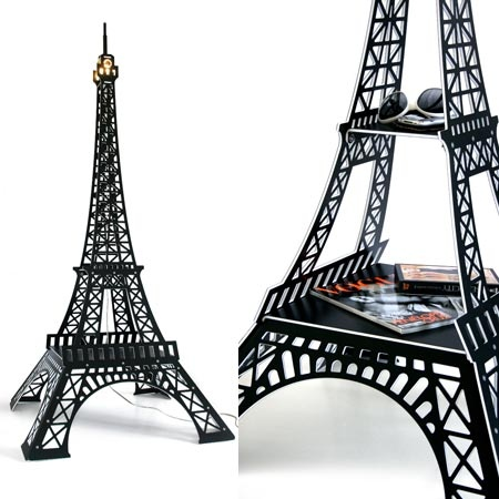 table lampe tour eiffel noir satin de paolo design 420. Black Bedroom Furniture Sets. Home Design Ideas