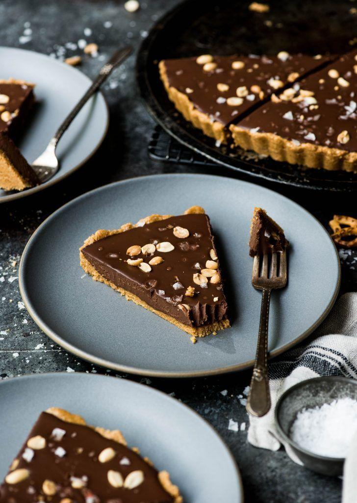 Chocolate Peanut Butter Pretzel Tart (Vegan + Gluten Free)