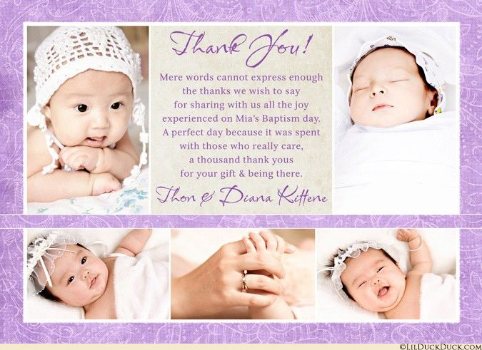 Collage floral Baptism thank you cards share once-in-a-lifetime collection of photos from your daughter's special day! Soft lavender purple & cream colors