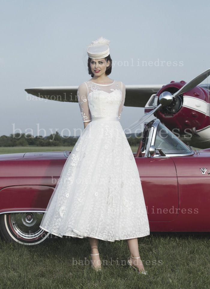$159--2014 Sexy Wedding Dresses Tea Length Half Sleeves Jewel Tull A-line Appliques Bridal Dresses with Button JA8729_New A-Line Wedding Dress_A-L...