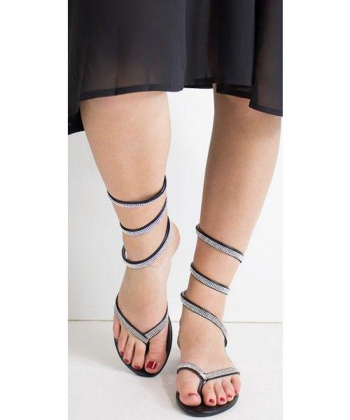 Sandalo basso con strass disponibile in nero e argento - Mimì Muà