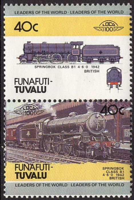 1984 Tuvalu, Funafuti #12, pair -  Leaders of the World. Locomotive. 1942 Springbok Class B, United Kingdom.