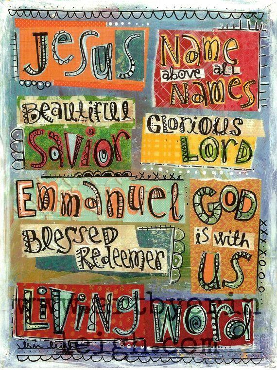 Kids Scripture Art, Bible verse art, Christian Art, Jesus, Name Above All Names,  8 x 10 Fine Art Print, Mixed Media Collage. $18.00, via Etsy.