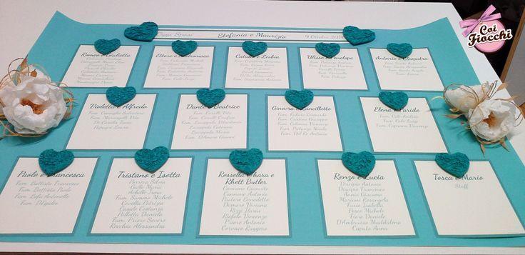 Tableau mariage Tiffany e avorio con cuoricini in filo di carta e peonie bianche e avorio, sempre in filo di carta per i nostri sposi Maurizio&Stefania