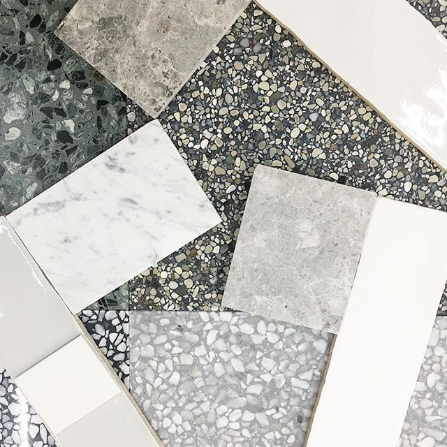 Marble, terrazzo and handmade glazed tiles were on the agenda today. #marchtwiceoutandabout #interiordesign #sourcing #terrazzo#tiles