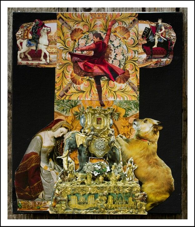 The musical box, a collage,  with the. Royal Ballet dancer BONELLI at the top