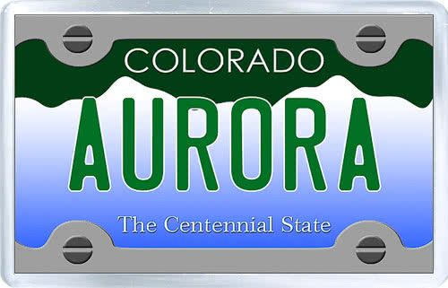 $3.29 - Acrylic Fridge Magnet: United States. License Plate of Aurora Colorado