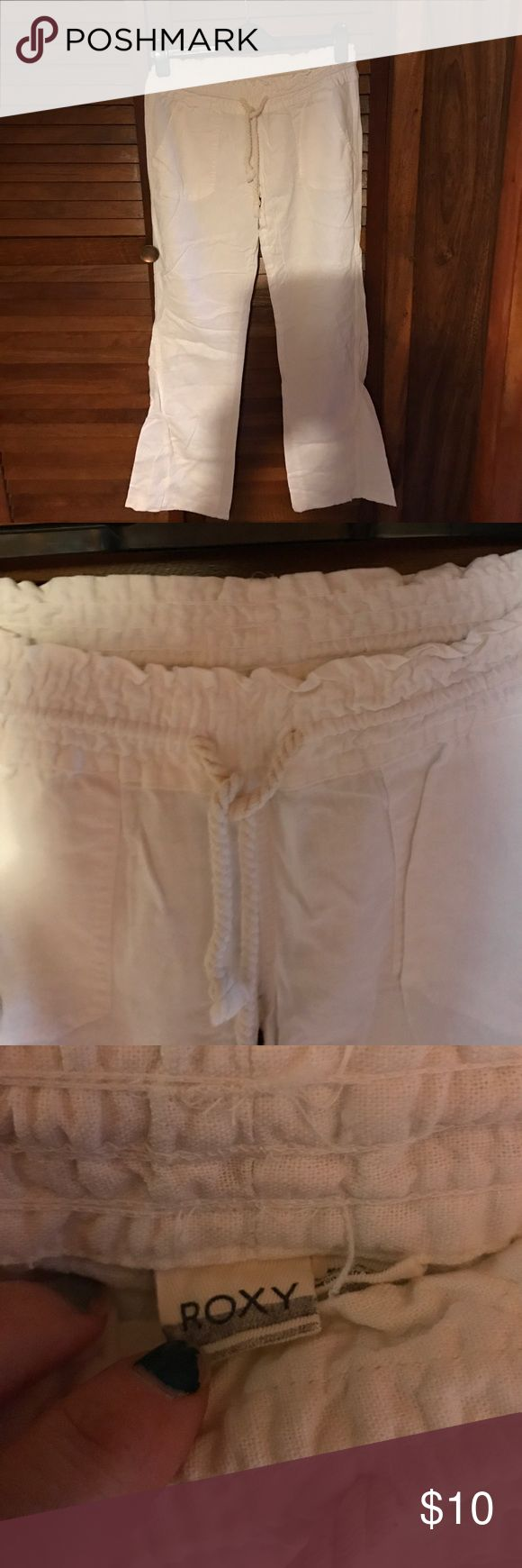 Roxy white beach pants Small Draw string and elastic waists white beachy pants. Roxy Pants Wide Leg