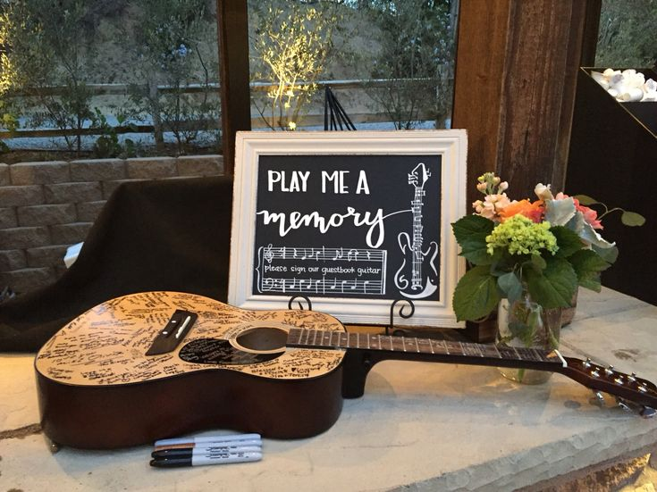 Wedding Chalkboard for guest book guitar