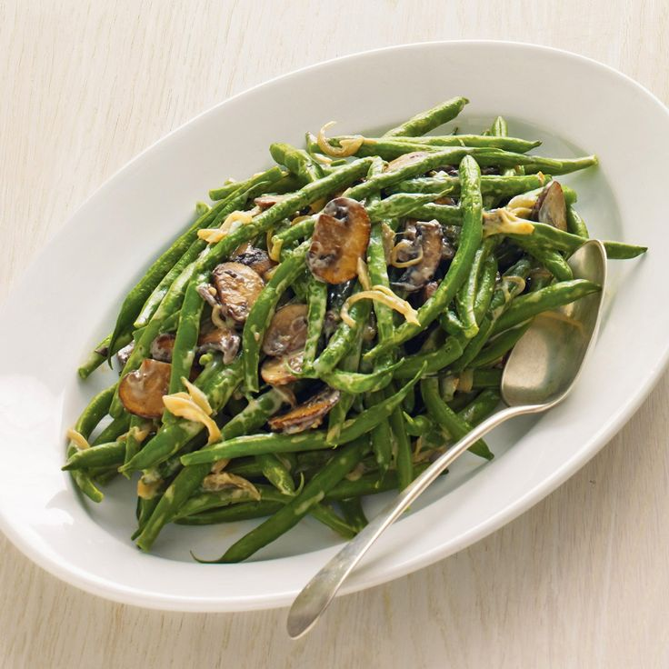 Green Beans with Creamy Mushrooms and Shallots: can sub onions for shallot, water for broth, and flour for cornstarch if desired.
