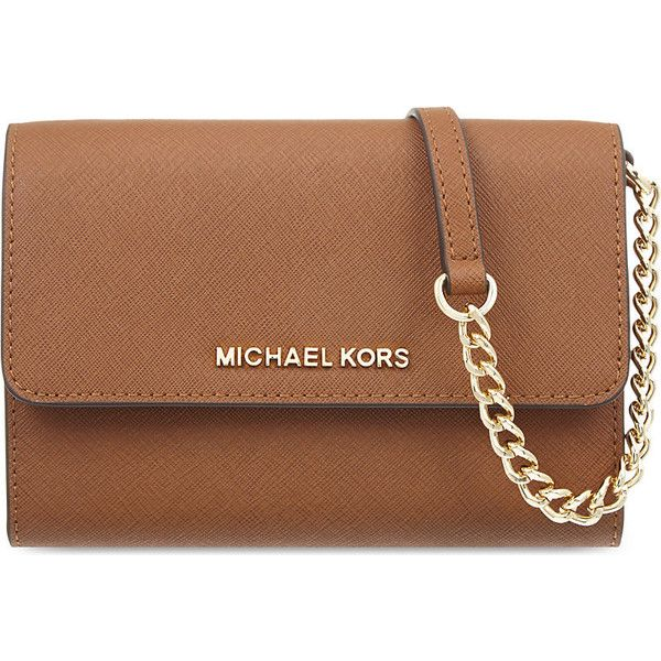 Michael Michael Kors Jet set large leather cross-body bag (€155) ❤ liked on Polyvore featuring bags, handbags, shoulder bags, leather crossbody handbags, brown crossbody, leather shoulder handbags, brown leather crossbody and cross-body handbag