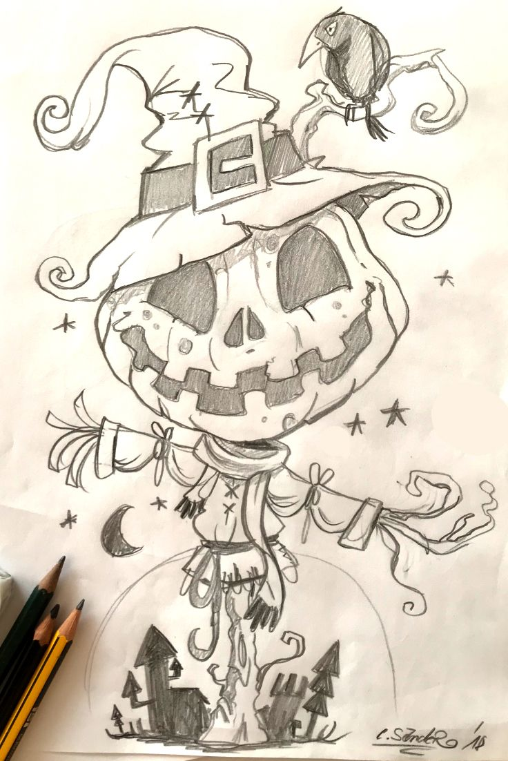 little halloween scarecrow drawing from yesterday evening