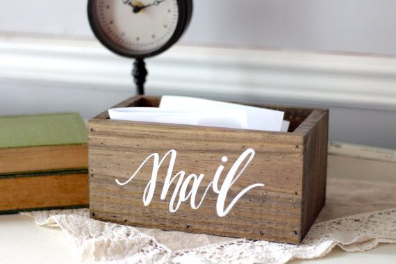 Our rustic wooden mail holder is perfect for your office or home organization! They also make great housewarming gifts! Our boxes are made of quality Brazilian wood and embellished with beautiful hand painted calligraphy. ⭐️ Lead Time ⭐️ 2-3 Weeks. If you plan on placing a large order, please email us for a custom invoice. We like to ensure you never pay too much in shipping! Dimensions: 8x4x4 If you would like a larger mail box, please visit this listing…