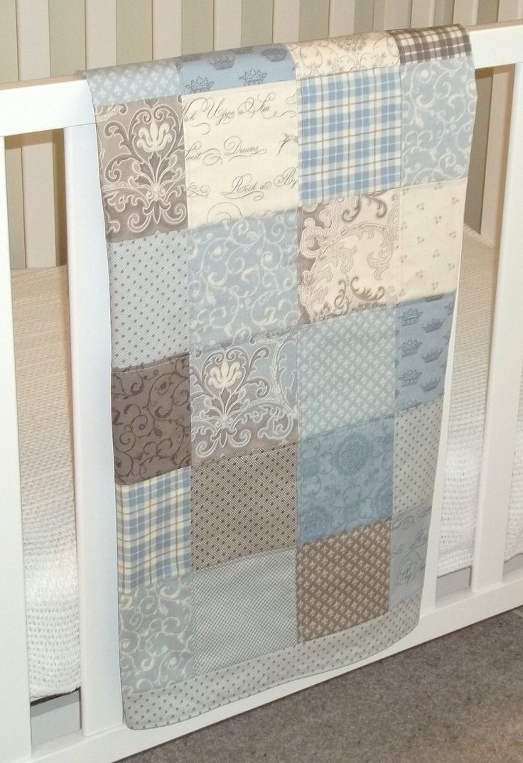 Modern Patchwork Baby Blanket (Blue Boy)  Infant Crib Blanket with Puttin on the Ritz by Bunny Hill for Moda - Flannel Back. $59.00, via Etsy.
