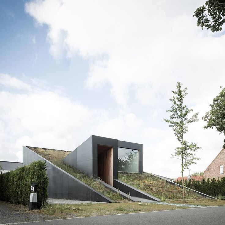 An angular entrance and roof intersect the plant-covered roof of this wedge-shaped house completed by architects office OYO in the Belgian village of Maldegem. See more images on http://ift.tt/1VwLIlQ #architecture #house #houses #Belgium by dezeen