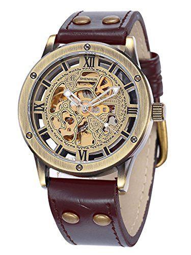 Alienwork Retro mechanische Automatik Armbanduhr Skelett Automatikuhr Uhr vintage bronze braun braun Polyurethan W9397-02 - http://on-line-kaufen.de/alienwork/alienwork-retro-mechanische-automatik-skelett-3