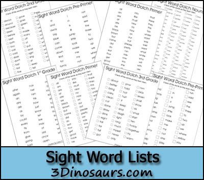Dolch list for Pre-Primer, Primer, First Grade, Second Grade, Third Grade and Nouns. - 3Dinosaurs.com