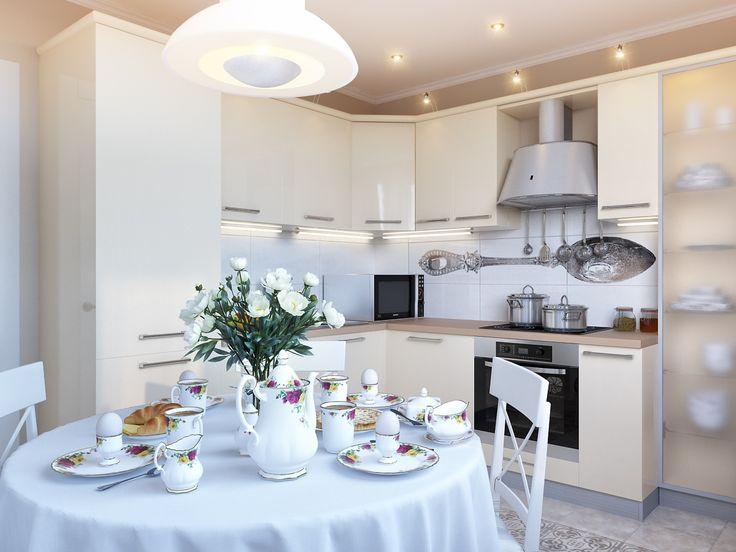 cream & white kitchen dining room