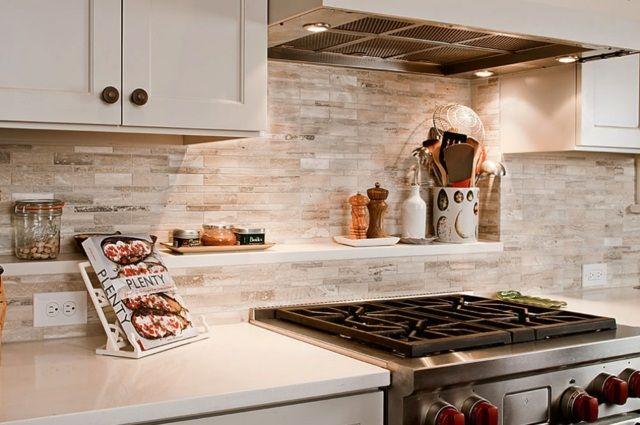 crédence cuisine en tuiles de pierre naturelle en nuances beiges