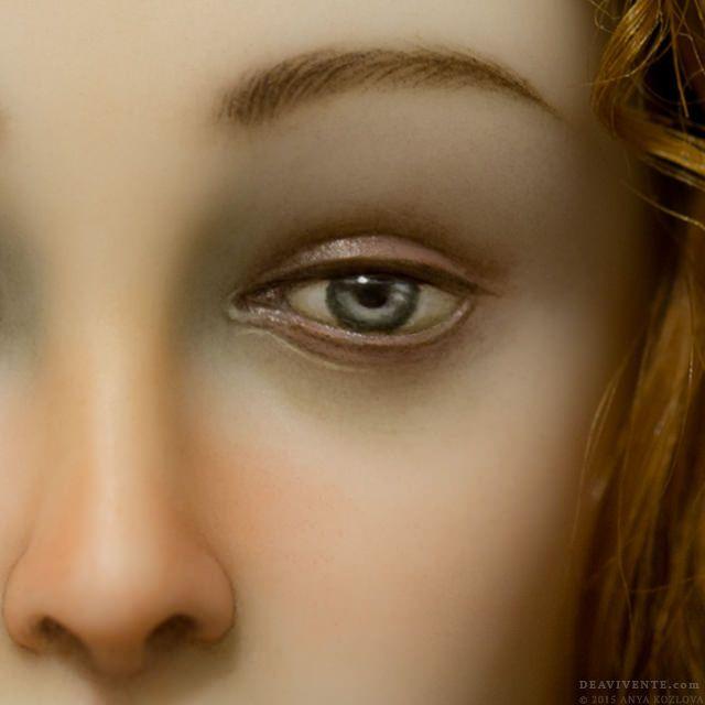 Super macro of Primavera's face. The iris diameter is 2 mm.  Супер-макро лица Примаверы. Диаметр радужки 2 мм.  'Dea Vivente' website Facebook Instagram