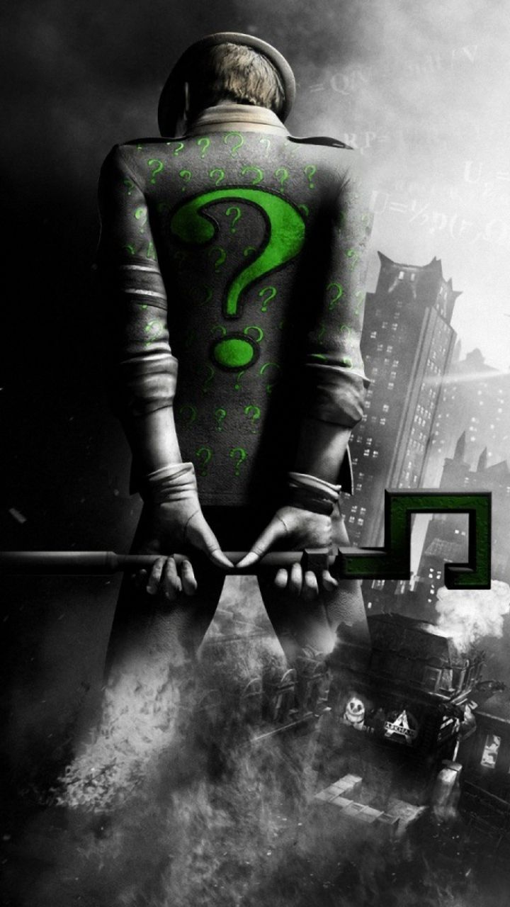 720x1280 Wallpaper batman arkham city, riddler, back, city, black and white