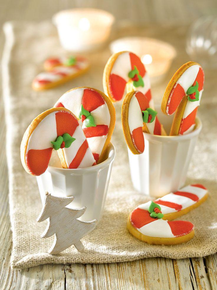 Detalle de galletas en forma de bastoncitos de caramelo