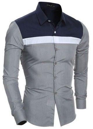 Camisa Moderna Casual/Social - Mix Colors - en Vino y Gris