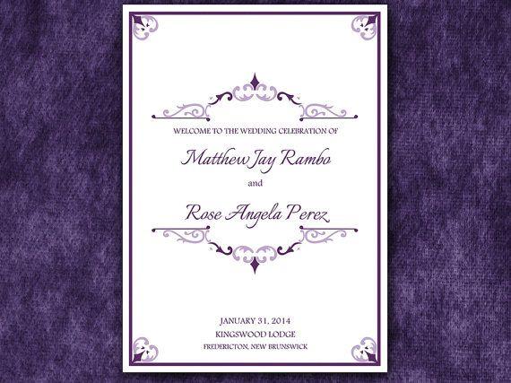 Antique Chic Half Fold Wedding Program Template Microsoft Word